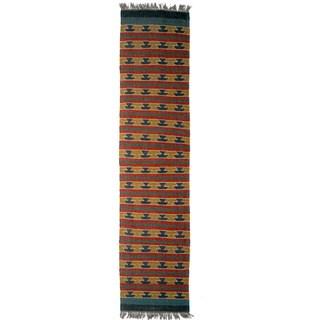 Timbergirl Indo Mustard Wool Jute Kilim Area Rug (2' x 8')