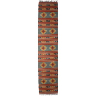 Timbergirl Indo Red/Orange Wool Jute Kilim Area Rug (2' x 8')