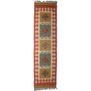 Timbergirl Indo Orange Wool Jute Kilim Area Rug (2' x 8')