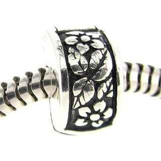 Queenberry Sterling Silver Antique Floral Leaf Stopper European Bead Charm