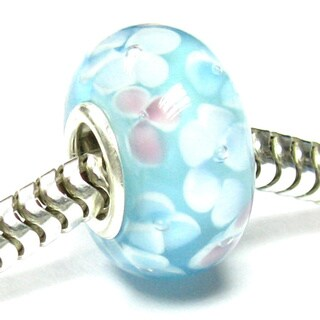 Queenberry Sterling Silver Light Blue Flower Murano Glass European Bead Charm