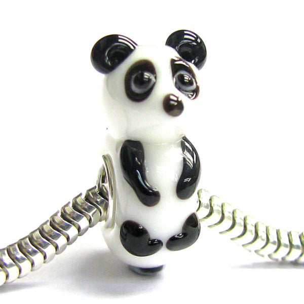 Queenberry Sterling Silver Panda Bear Murano Glass Lampwork European Bead Charm 15253495