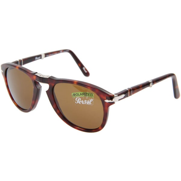 Persol Men's Steve McQueen 24/57 Havana Foldable Plastic Polarized Sunglasses (As Is Item)