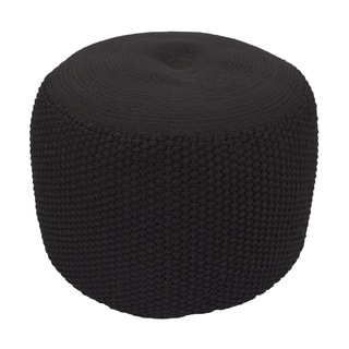 Handmade Pattern Polypropylene Black 20x20 Pouf