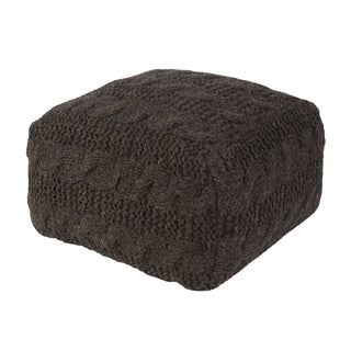 Handmade Pattern Wool Black 20x20 Pouf