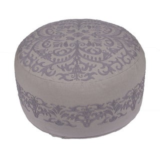 Handmade Pattern Cotton Grey 24x24 Pouf
