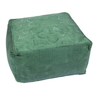 Handmade Pattern Cotton Green 24x24 Pouf