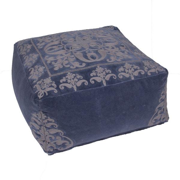 Handmade Pattern Cotton Blue 24x24 Pouf