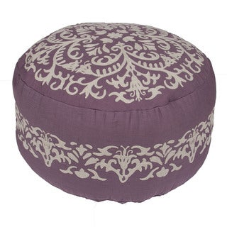 Handmade Pattern Cotton Purple 24x24 Pouf
