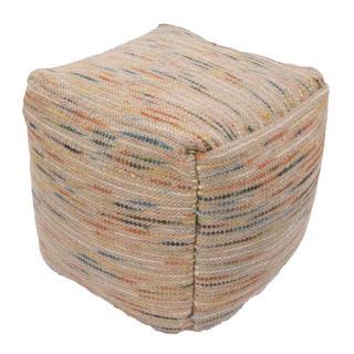 Handmade Pattern Wool Multi 18x18 Pouf