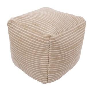 Handmade Pattern Wool Tan 18x18 Pouf