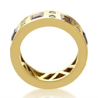 18k Yellow Gold Garnet 1/3ct TDW Diamond Ring (G-H, SI1-SI2)
