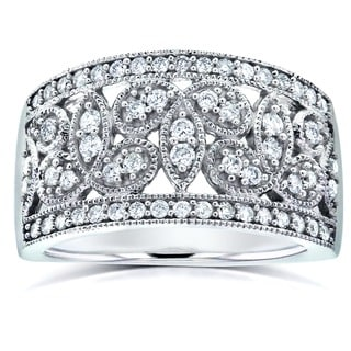 Annello 14k White Gold 1/2ct TDW Floral Diamond Band (G-H, I1-I2)