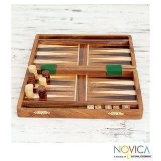 Handcrafted Seesham Wood 'Winning Strategy II' Backgammon Set (India)