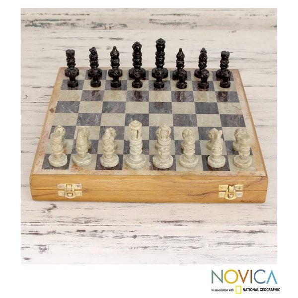 Handcrafted Soapstone 'Mughal Challenge' Chess Set (India)