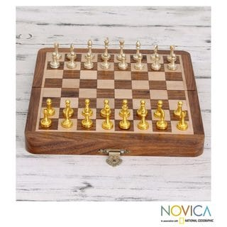 Handcrafted Kadam Wood Brass 'Gleaming Warriors' Chess Set (India)