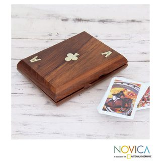 Handcrafted Seesham Wood Brass 'Ace of Clubs' Playing Card Box (India)