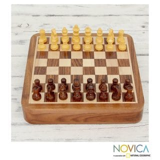 Handcrafted Seesham Wood 'Mindful Challenge' Chess Set (India)