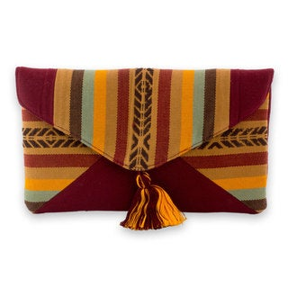Handcrafted Cotton 'Autumnal Path' Clutch (Guatemala)
