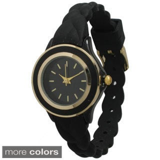 Olivia Pratt Women's Skinny Braided Silicone Band Watch