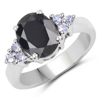 Malaika Sterling Silver Oval Black Sapphire and Tanzanite Ring