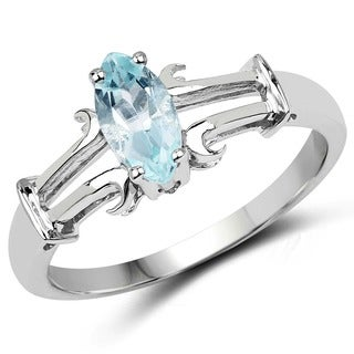Malaika Sterling Silver Oval-cut Aquamarine Ring