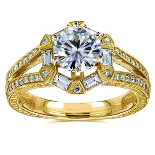 Annello 14k Yellow Gold 1 1/2ct TGW Moissanite and Art Deco Diamond Accent Engagement Ring (G-H, I1-I2)