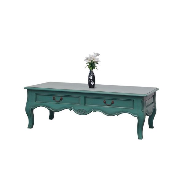 Decorative Parkdale Casual Teal Rectangle Coffee Table
