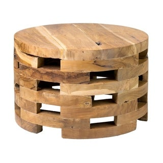 Decorative Langlois Natural Brown Round Coffee Table