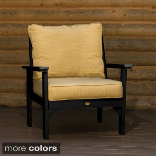 Highwood Marine-grade Synthetic Wood Pocono Armchair with Sunbrella Dupione Bamboo Color Cushions