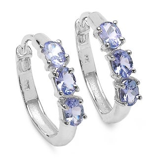 Malaika Sterling Silver Oval Tanzanite Hoop Earrings