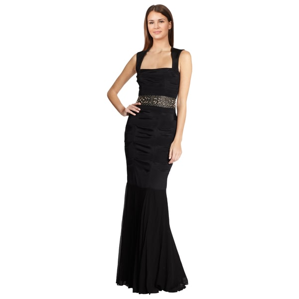 Nicole Miller Black Ruched Embellished Mermaid Evening Dress