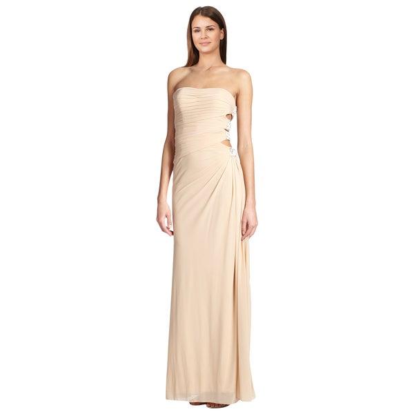 La Femme Beige Strapless Embellished Cutout Formal Evening Dress