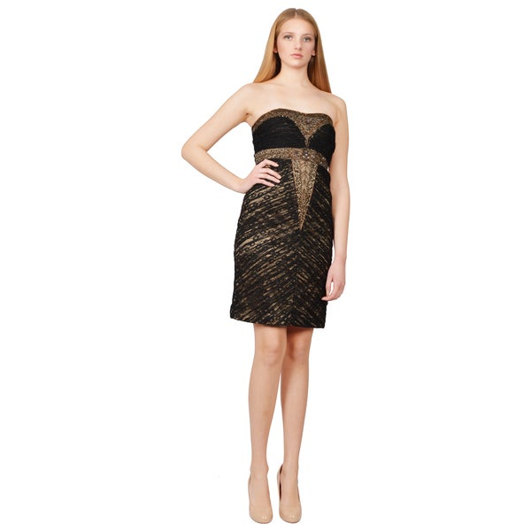 Sue Wong Black Ruched Crepe Beaded Strapless Sheath Cocktail Dress