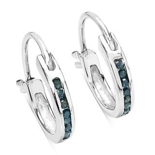 Malaika Sterling Silver 1/6ct TDW Blue Diamond Hoop Earrings