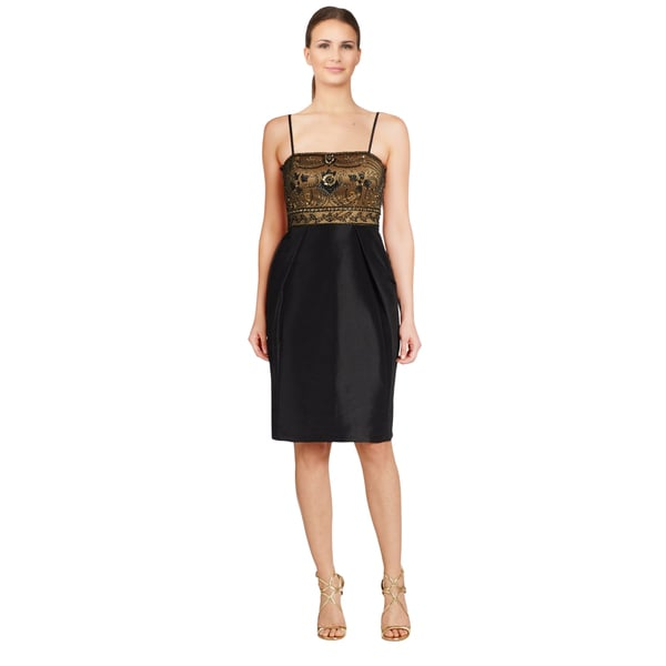 Sue Wong Black Beaded Combo Tulip Skirt Cocktail Dress