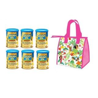 Hawaiian Lunch Bag Gift Basket Mauna Loa Dry Roasted Macadamia Nuts and Sea Salt (6 Cans)