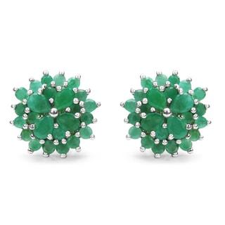 Malaika Sterling Silver Emerald Flower Stud Earrings