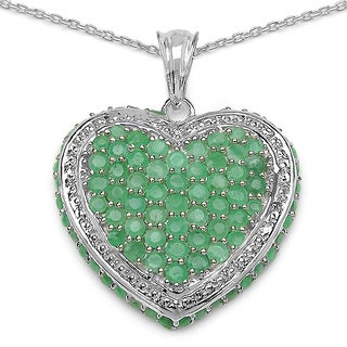 Malaika Sterling Silver Round Emerald Heart-shaped Necklace