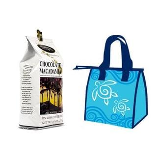 Hawaiian Isles Lunch Bag Gift Basket Kona Coffee Ground Chocolate Macadamia (4 Bags)