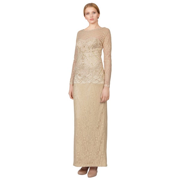 Sue Wong Champagne Long Sleeve Beaded Drop Waist V-back Long Dress