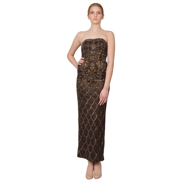 Sue Wong Brown Deco Embellished Strapless Column Evening Dress