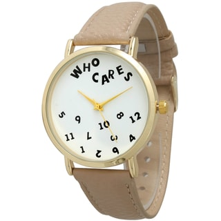 Olivia Pratt Women's Who Cares Leather Band Watch