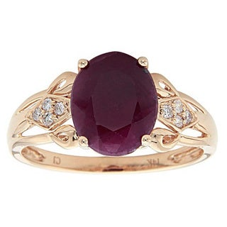 Anika and August 14k Yellow Gold Oval-cut Ruby and Diamond Accent Ring (Size 7)