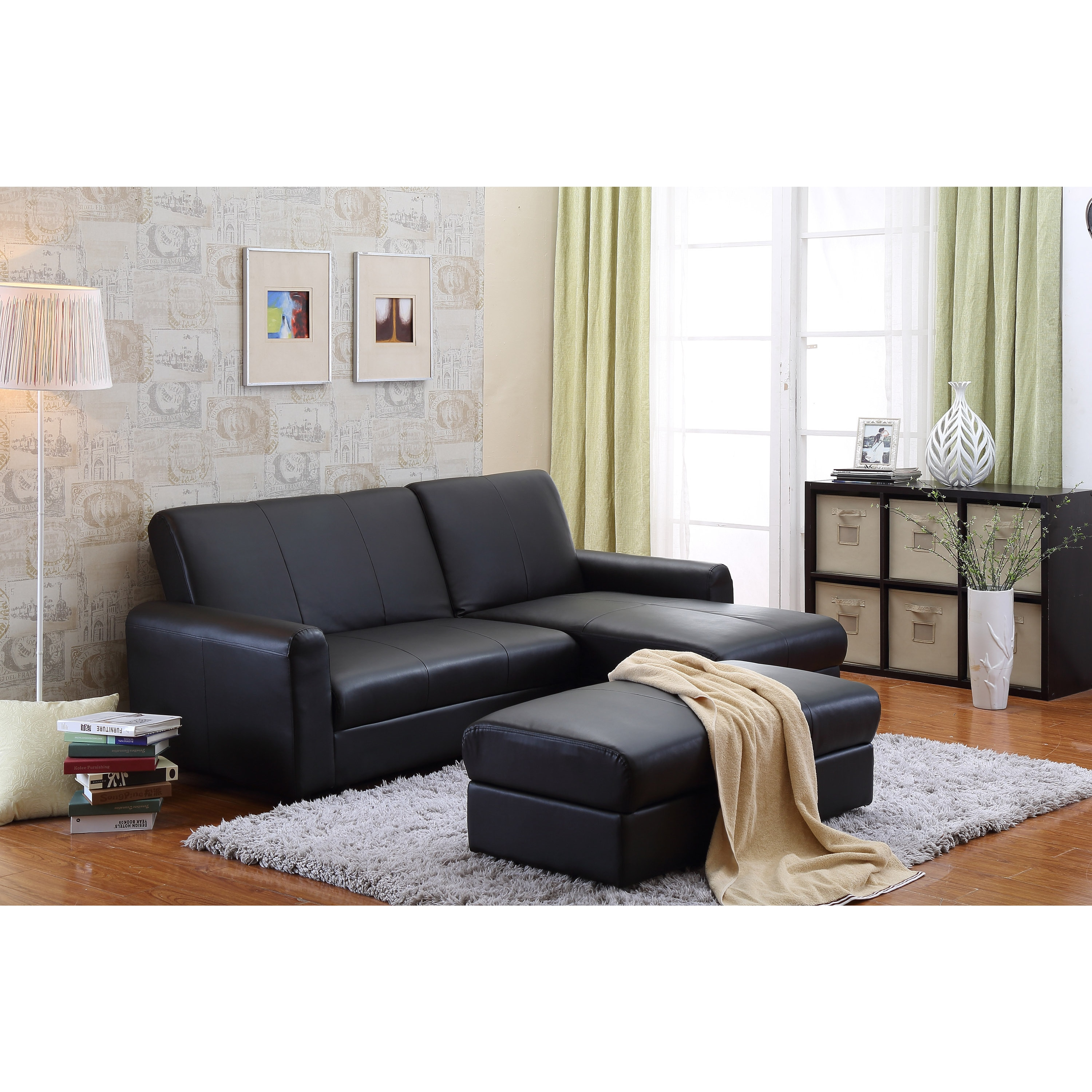 Overstock.com the-Hom Aerie 3-piece Black Bi-cast Leather Sectional Sofa Bed with Ottoman Coffee Table and Storage