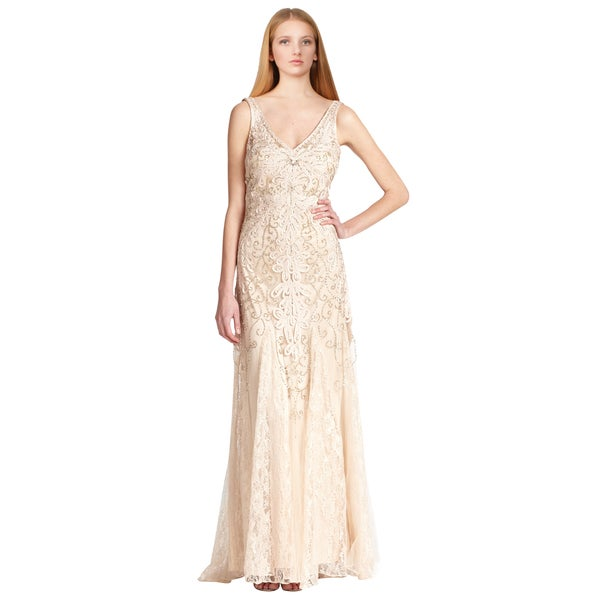 Sue Wong Beige Embroidered V-neck Lace Chiffon Evening Dress