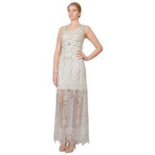 Sue Wong Ivory Sheer Beaded Overlay V-neck Evening Dress