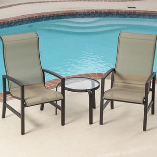Lakeview Outdoor Designs Acadia Sling Patio 2-person Bistro Set with Glass Top Table
