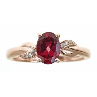 Anika and August 10k Rose Gold Oval-cut Rodholite Diamond Accent Ring (Size 7)