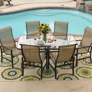 Lakeview Outdoor Designs Acadia 6-person Sling Patio Dining Set with Glass Top Table